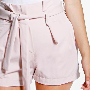 Alex Tie Waisted Smart Belted Shorts | Boohoo