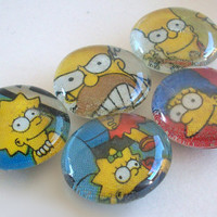 The Simpsons Glass Magnets Set / Bart Simpson / Homer Simpson