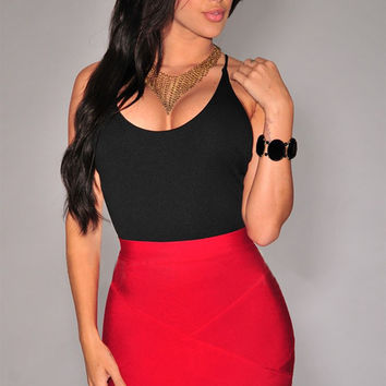 Red Bandage Arched Mini Skirt