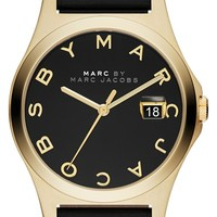 Women's MARC BY MARC JACOBS 'The Slim' Round Leather Strap Watch, 36mm - Black/ Gold