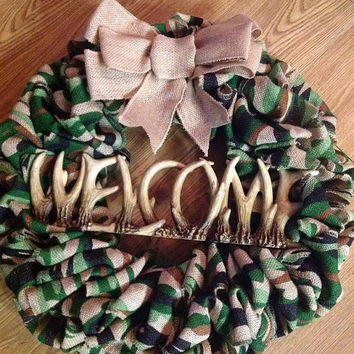 SALE20%OFF Camo Burlap Wreath