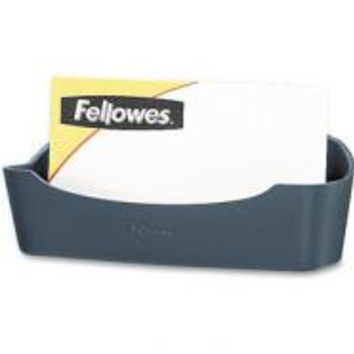 Fellowes Partition Additions Business Card/Paper Clip Holder, 4 1/8x1 3/4, Dark Graphite