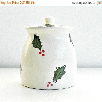 ON SALE Vintage Christmas Cookie Jar, Paula Estey Signed Art Pottery Cookie Jar, Red & Green Holly Cookie Jar.
