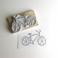 Bicycle - Hand Carved Rubber Stamp