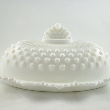 Vintage Fenton White Milk Glass Butter Dish, Hobnail