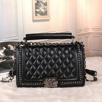LMFON Chanel' Women Personality Fashion Quilted Metal Chain Single Shoulder Messenger Bag Handbag