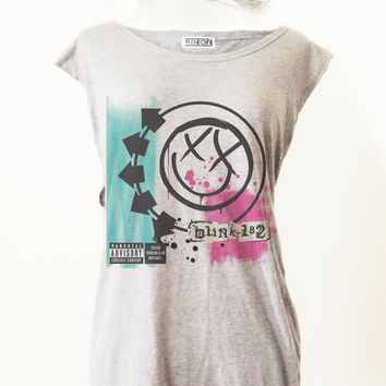 Retro Blink-182 Punk Rock T-Shirt Tee Tank Top Tunic Vintage Look One Size