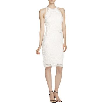 French Connection Womens Pearl Cage Beaded Halter Cocktail Dress