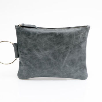 Small leather purse - Leather wristlet clutch - Women leather clutch Purse - Distressed Blue leather clutch Bag - Metal ring in nickel color