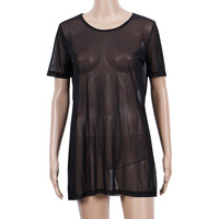 Hot Sale 2017 T-shirts For Womens Summer Sexy Women O-Neck Sheer Mesh Short Sleeve Tee T Shirt Oversize Tops Tshirts Black