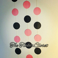 Circle garland, paper garland, party decor, wedding garland, baby shower decor, pink garland, wedding shower decor, Minnie mouse garland