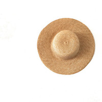 Straw Wide Brimmed Hat Sun Hat Sixties 1960s 60s O/S