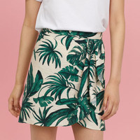 Patterned Wrap-front Skirt - from H&M
