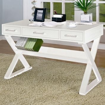 White finish wood office writing desk with cross leg base and 3 drawers