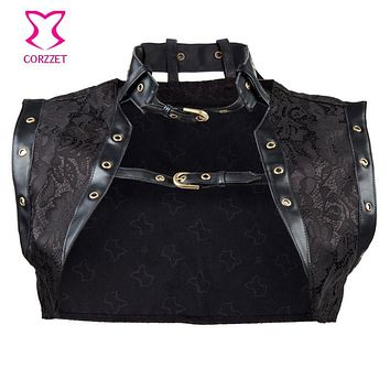 Corzzet Plus Size 6XL Black Brocade Steampunk JacketWomen Sleeveless Jacket with Leather Collar Gothic Sexy  Corset Accessories