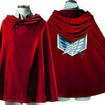 New Attack on Titan Survey Corps Cloak Eren Mikasa Levi Cosplay Costume RED One Size 70cm & Free Shipping COS98RDXL