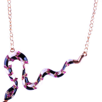 Gold Plated Rhinestone Snake Necklace NSN0000087