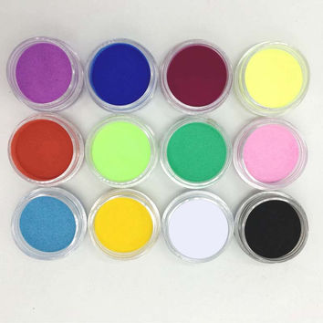 12Pcs Women Lady Girl Nail Art Tips Mix Colors Glitter Powder for Acrylic UV Gel Decoration DIY Manicure Beauty Tools