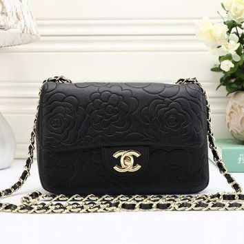 DCCK6HW Chanel' Simple Fashion All-match Flower Embossed Metal Chain Single Shoulder Messenger Bag Women Small Square Bag