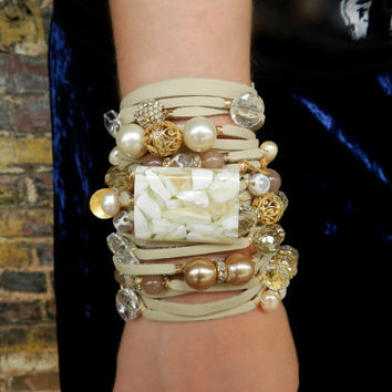 Ivory Leather Bracelet, Stacking Bracelet, Multi Strand Cuff, Statement Bracelet, Charm Bracelet, Women Leather Bracelet