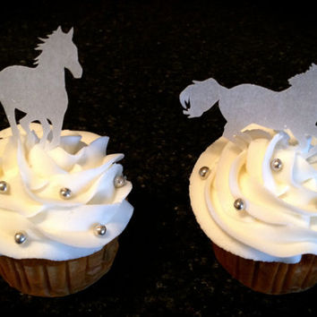 Horses, Horse party, Western Party, Edible, Cake Toppers, Cupcake Toppers, 12 count, Wafer Paper, Sparkle Dusted