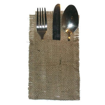Rustic burlap Cutlery holders, Rustic wedding table cutlery, burlap cutlery holders, burlap silverware pocket, burlap cutlery,