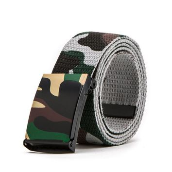 Military Tactical Belt  Army Camouflage Canvas Waist Automatic Buckle