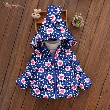 Warm Winter Baby Infants Girls Kids Bow Hooded Down-Cotton Thicken Ruffles Heart Dot Jacket Outwear Parkas Coat Casaco S5903