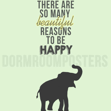 Happy Elephant Dorm Room Poster Print