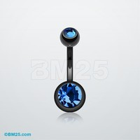 Titanium Anodized Duo Gem Ball Belly Ring
