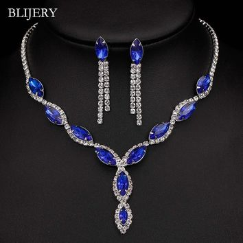 BLIJERY Silver Plated Royal Blue Crystal Wedding Jewelry Sets for Women Leaf Tassel Long Necklace Earrings Bridal Jewelry Sets