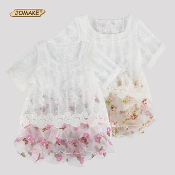 Retail Summer Dress European And American Style Kids Dresses For Girl Floral Lace Mesh Short Sleeve Princess Toddler Girls Dress