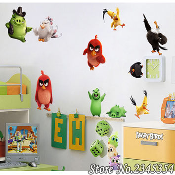 Chuck angry bird cute cartoon stickers Children stereoscopic wall sticker adhesive glass refrigerator car trunk Wallpapers