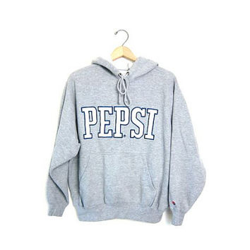20% OFF SALE Vintage PEPSI sweatshirt. Hooded sports sweatshirt. Gray cotton blend boyfriend hoodie. Sporty pullover. Men's size small.