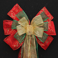 Red Green Gold Metallic Swirl Christmas Bow