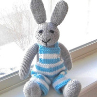 "Hand Knit Bunny Rabbit - Baby Easter Toy Stuffed Toy Rabbit Doll - Knit Animal Easter Bunny Nursery - Stuffed Animal Bunny Doll 15"" Tall"