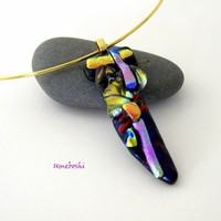 Bejeweled Handmade Dichroic Fused Glass Sword Pendant