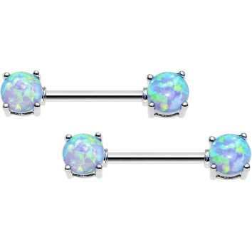 "14 Gauge 9/16"" Blue Synthetic Opal Ends Nipple Barbell Set"