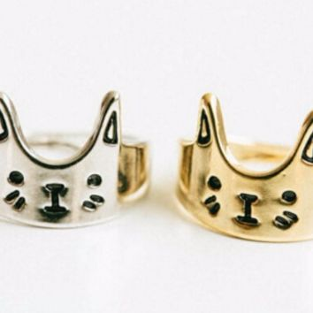 Cute Cat Ring- Silver or Gold