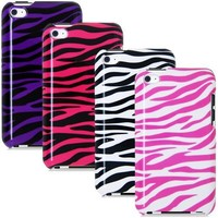 APPLE iPOD TOUCH 4 4G 4TH - BLACK/PURPLE plus BLACK/PINK plus BLACK/WHITE plus PINK/WHITE ZEBRA HARD DESIGN CASE COVERS
