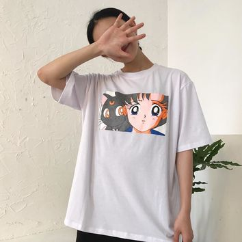 Summer Cute T-shirt For Women Japanese Style Sailor Moon Cat Korean Ulzzang Printed Graphic Top Kawaii Female Casual T Shirts