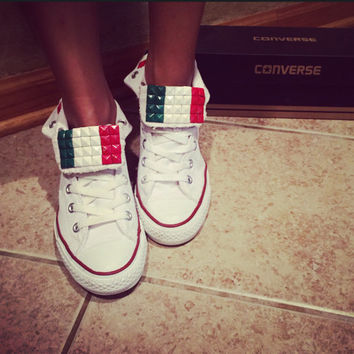 Italian Flag Studded Custom Converse All Star - Chuck Taylors! ALL SIZES AVAILABLE!!