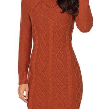 Burnt Orange Cable Knit High Neck Sweater Dresses