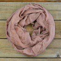 City Scape Rose Frayed Infinity Scarf