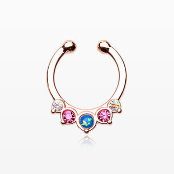 Rose Gold Opal Precia Fake Septum Clip-On Ring