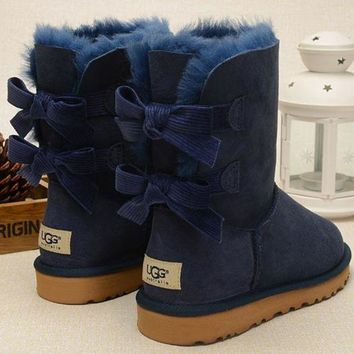UGG Fashion Women Fur Bow Wool Snow Boots In Tube Boots Shoes-1