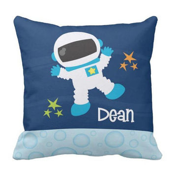 SPACE PILLOW - Outer Space Decor - Boy Name Pillow - Space Nursery Decor - Astronaut Bedroom - Space Bedding - Pillow Cover or With Insert