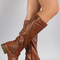 Bamboo Studded Contrast Zipper Riding Knee High Boots