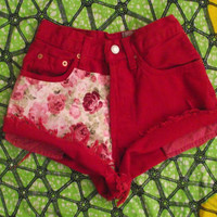 Limited Edition High Waisted Red Rose Appliqué Levi Denim Shorts