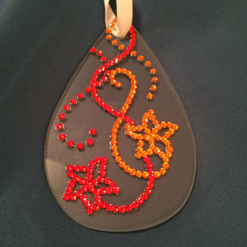 Swarovski Crystal christmas ornament red and gold flowers and ribbons glass teardrop